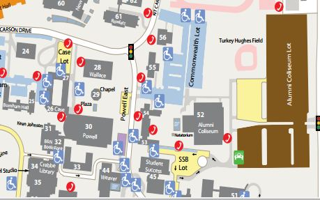 Kentucky Campus Map.Campus Parking Map Swimming Pools Eastern Kentucky University